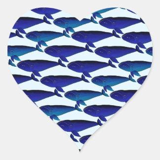 Modelo de la ballena de Bowhead en azul Pegatina En Forma De Corazón