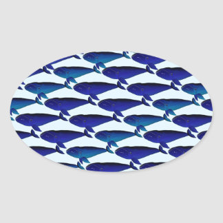 Modelo de la ballena de Bowhead en azul Pegatina Ovalada