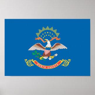 Modelo de la bandera de DAKOTA DEL NORTE Póster