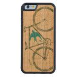 Modelo de la bici del verde esmeralda del pájaro funda de iPhone 6 bumper cerezo