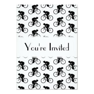 Modelo de la bicicleta en blanco y negro. invitación 12,7 x 17,8 cm