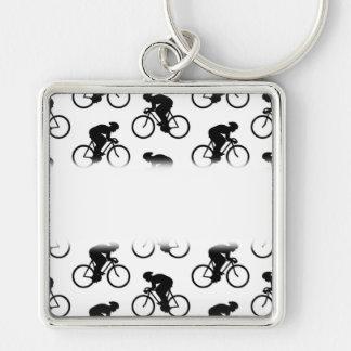 Modelo de la bicicleta en blanco y negro. llaveros