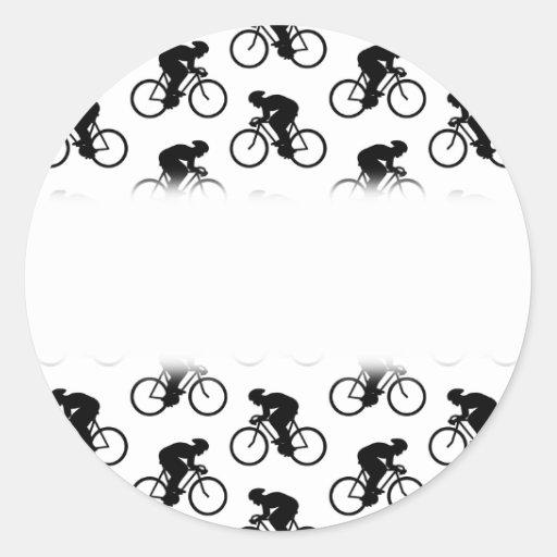 Modelo de la bicicleta en blanco y negro. etiqueta redonda