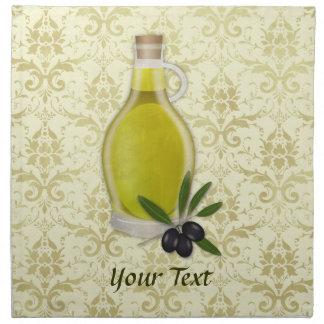 Modelo de la botella y del damasco del aceite de o servilleta imprimida