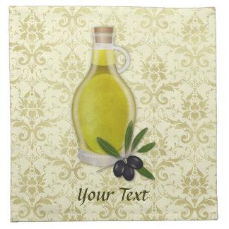 Modelo de la botella y del damasco del aceite de o servilleta de papel