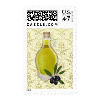 Modelo de la botella y del damasco del aceite de timbres postales