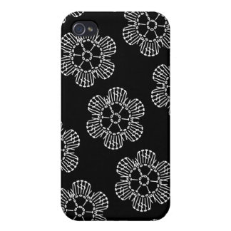 Modelo de la carta del ganchillo de la flor (negro iPhone 4 carcasa