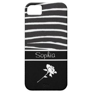 Modelo de la cebra+El rosa blanco en negro persona iPhone 5 Case-Mate Coberturas