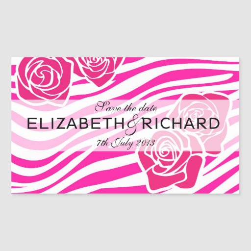 """Modelo de la cebra + los rosas rosados """"ahorran rectangular pegatinas"""