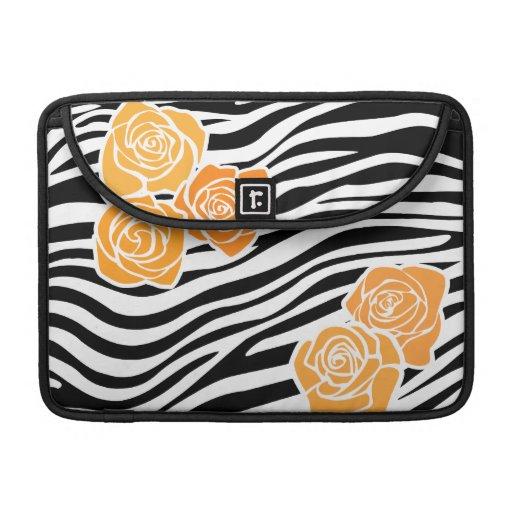 Modelo de la cebra + manga anaranjada de la aleta  fundas macbook pro