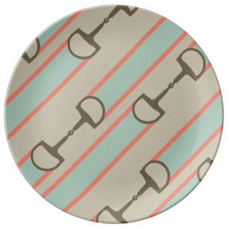 Modelo de la cinta del pedazo del caballo del plato de cerámica