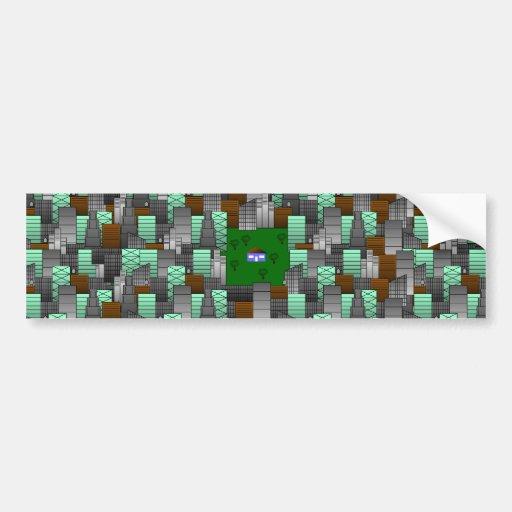 Modelo de la ciudad con poca casa etiqueta de parachoque