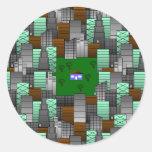 Modelo de la ciudad con poca casa pegatinas redondas