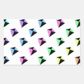 Modelo de la cometa de los colores en colores pegatina rectangular