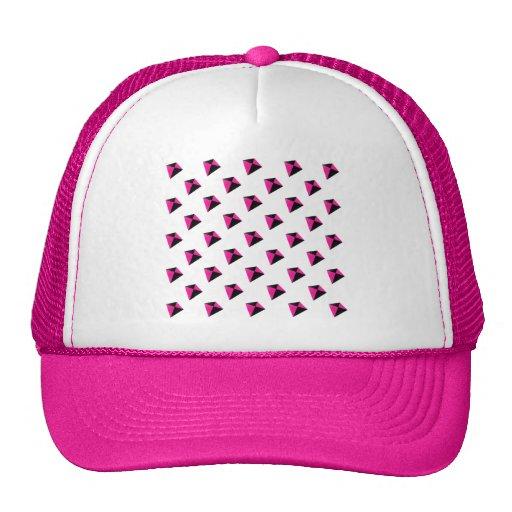 Modelo de la cometa del diamante rosado y negro gorros bordados