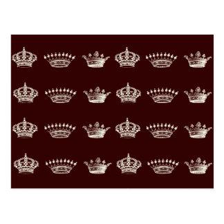Modelo de la corona en blanco tarjetas postales