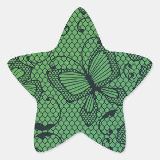 Modelo de la danza de la mariposa y de la flor del pegatina en forma de estrella