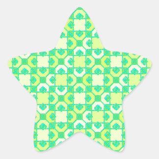 Modelo de la diversión en verde y amarillo pegatina en forma de estrella