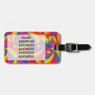 Modelo de la fan del arco iris etiquetas para maletas