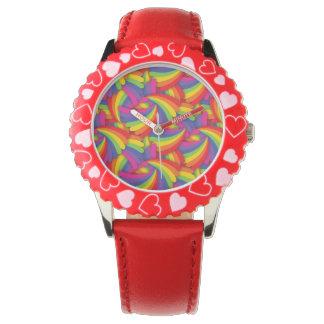 Modelo de la fan del arco iris reloj de mano