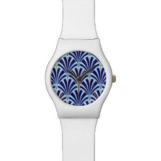 Modelo de la fan del art déco - azul del cobalto y relojes de mano