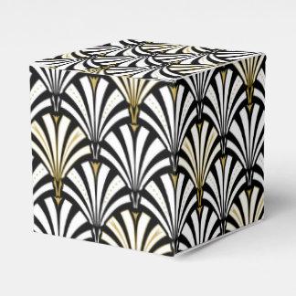 Modelo de la fan del art déco - blanco y negro cajas para regalos de boda