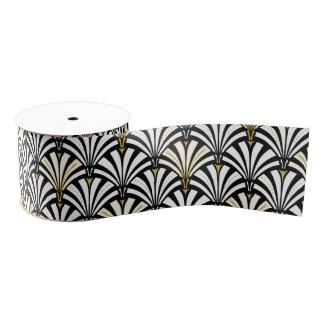 Modelo de la fan del art déco - blanco y negro lazo de tela gruesa