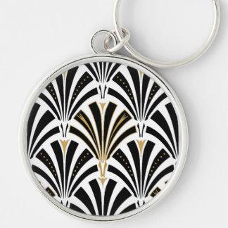 Modelo de la fan del art déco - blanco y negro llavero redondo plateado