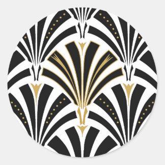 Modelo de la fan del art déco - blanco y negro pegatina redonda