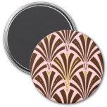 Modelo de la fan del art déco - chocolate en rosa imanes de nevera