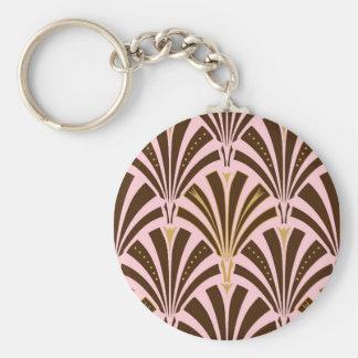 Modelo de la fan del art déco - chocolate en rosa llavero redondo tipo pin