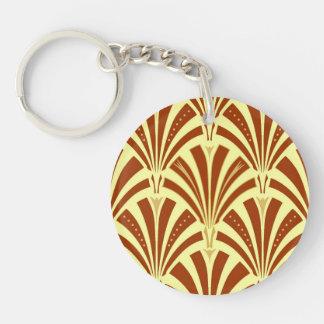 Modelo de la fan del art déco - cobre en amarillo llavero redondo acrílico a doble cara