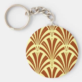Modelo de la fan del art déco - cobre en amarillo llavero redondo tipo pin