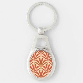 Modelo de la fan del art déco - mandarina llavero plateado ovalado