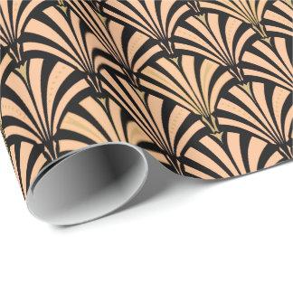Modelo de la fan del art déco - melocotón en negro papel de regalo