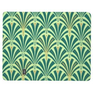 Modelo de la fan del art déco - pino y verde menta cuaderno grapado