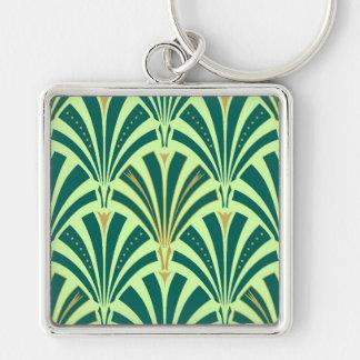 Modelo de la fan del art déco - pino y verde menta llavero cuadrado plateado