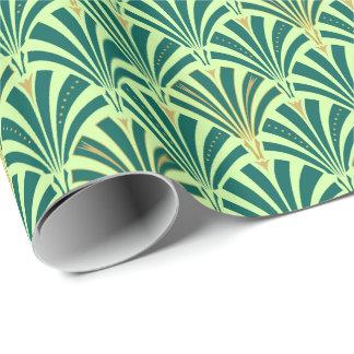 Modelo de la fan del art déco - pino y verde menta papel de regalo