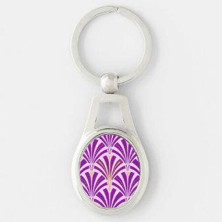 Modelo de la fan del art déco - púrpura y orquídea llavero plateado ovalado