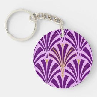 Modelo de la fan del art déco - púrpura y orquídea llavero redondo acrílico a doble cara