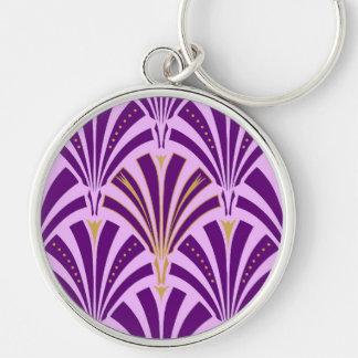 Modelo de la fan del art déco - púrpura y orquídea llavero redondo plateado