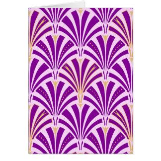Modelo de la fan del art déco - púrpura y orquídea tarjeta pequeña