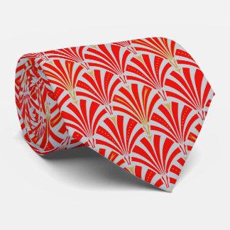 Modelo de la fan del art déco - rojo en gris de la corbata personalizada