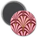 Modelo de la fan del art déco - rosa y marrón imán de frigorifico