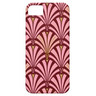 Modelo de la fan del art déco - rosa y marrón iPhone 5 fundas