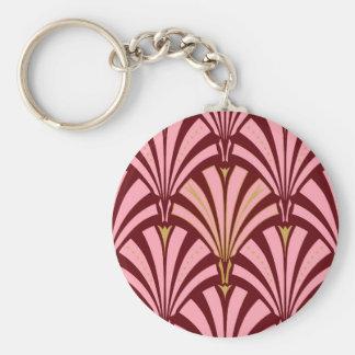 Modelo de la fan del art déco - rosa y marrón llavero redondo tipo pin
