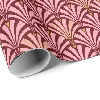 Modelo de la fan del art déco - rosa y marrón papel de regalo