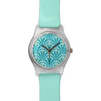 Modelo de la fan del art déco - turquesa en la relojes