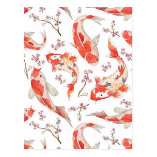 Modelo de la flor de cerezo de Koi Postales