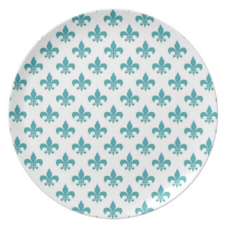Modelo de la flor de lis del trullo del vintage plato